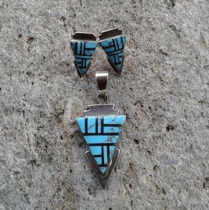 Sterling silver turquoise inlaid SET